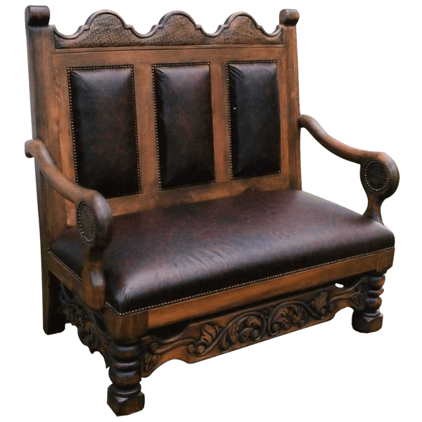 Spanish Colonial Leather Hand Carved Upholstered Benches bch02a