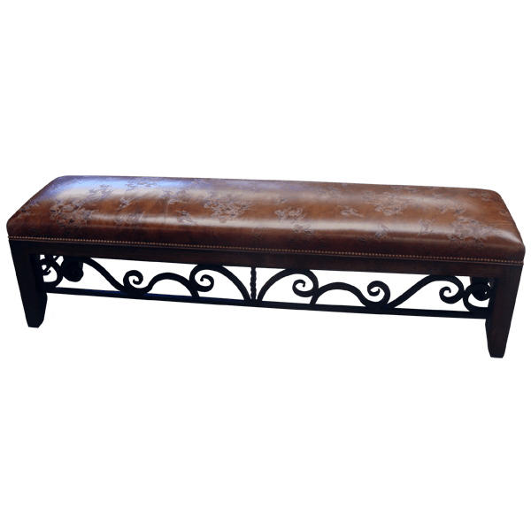 Western Leather Upholstered Hand forged iron Benches bch08a