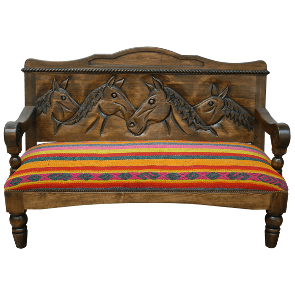 Spanish Colonial Fabric Hand Carved Upholstered Benches bch27