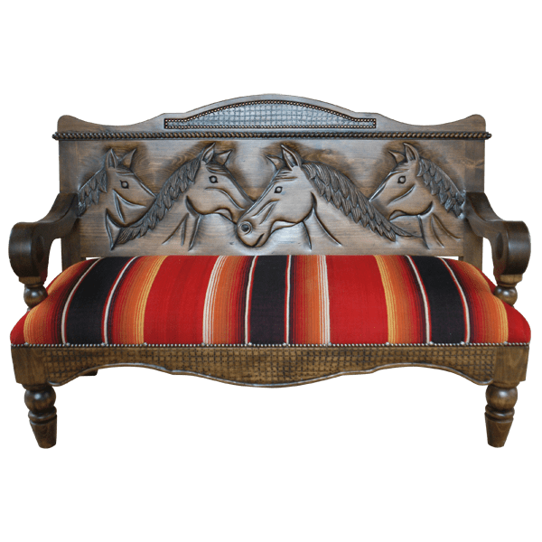 Spanish Colonial Fabric Hand Carved Upholstered Benches bch27a