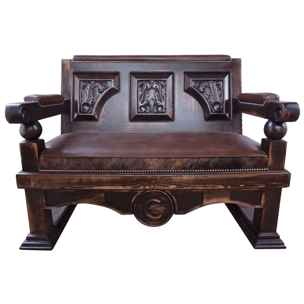 Western Leather Hand Carved Upholstered Benches bch29a