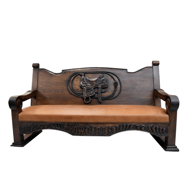 Western Leather Hand Carved Upholstered Benches bch31e