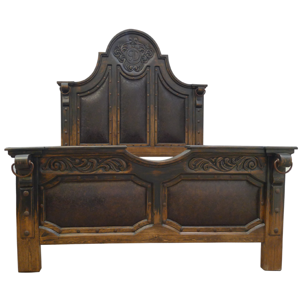 Western Leather Hand Carved Beds bed03b