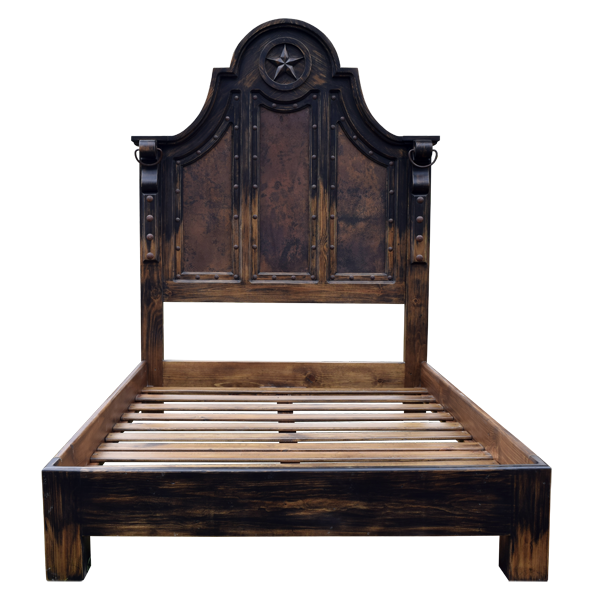 Western Leather Hand Carved Beds bed03d