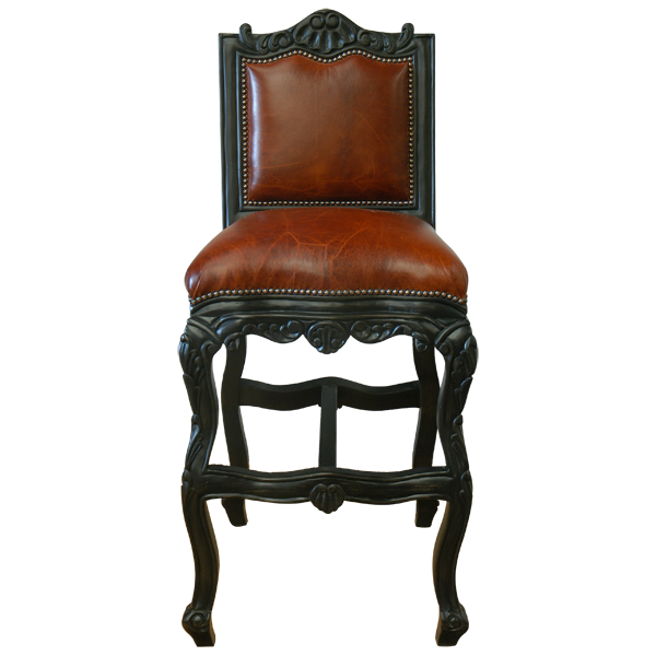 Spanish Colonial Leather Hand Carved Bar Stools bst01a