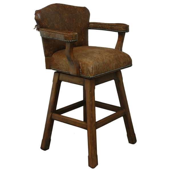Spanish Colonial Leather Bar Stools bst26a