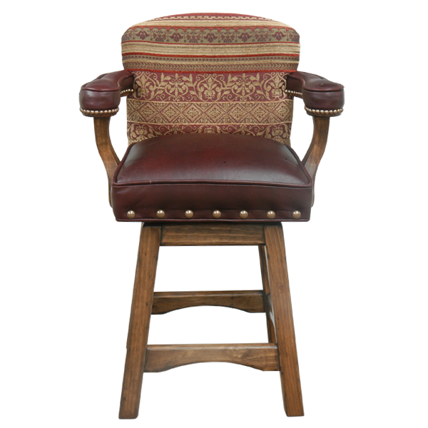 Spanish Colonial Leather Fabric Bar Stools bst28