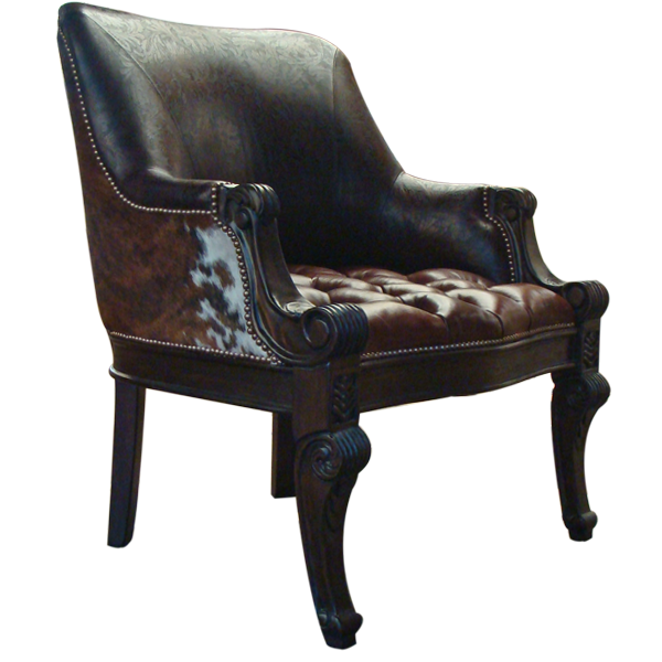 Western Leather Hand Carved Upholstered Chairs chr02