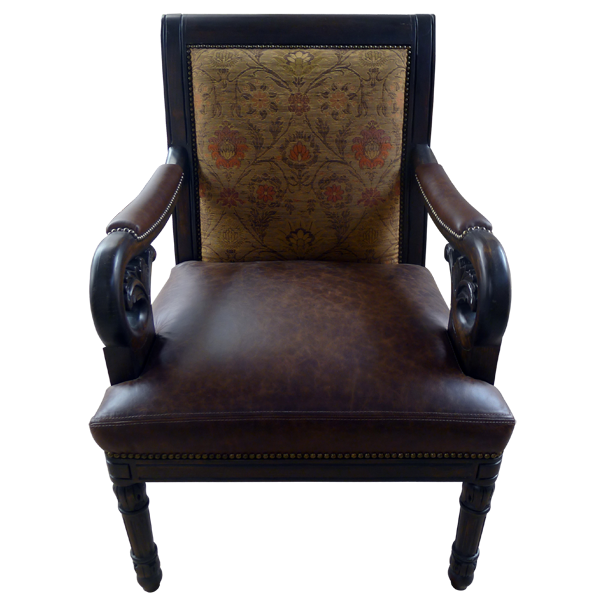 Western Leather Fabric Hand Carved Upholstered Chairs chr13b