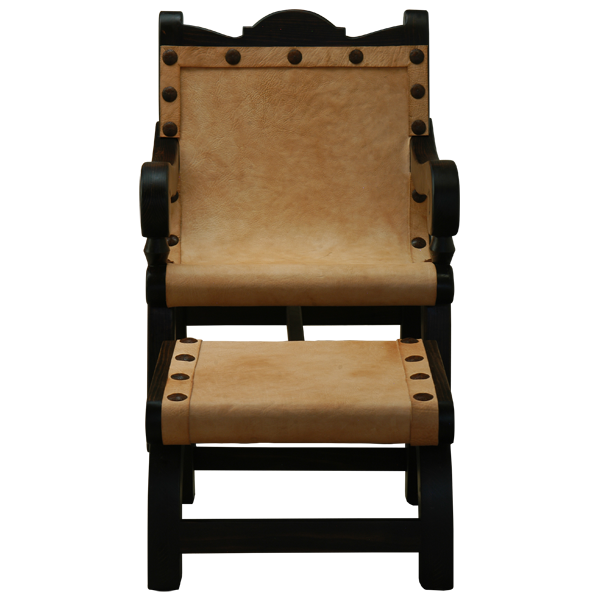Western Hand forged iron Leather Raw Chairs chr22b