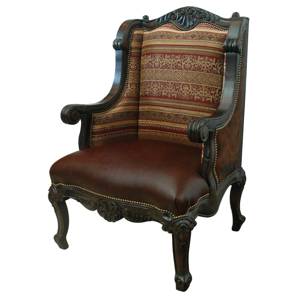 Western Leather Fabric Hand Carved Upholstered Chairs chr40