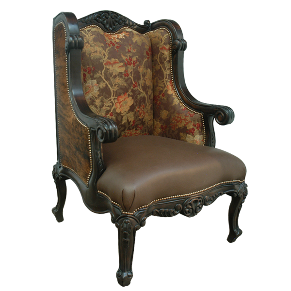 Western Leather Fabric Hand Carved Upholstered Chairs chr41