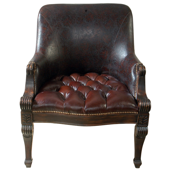 Western Leather Hand Carved Upholstered Tufted Chairs chr43a