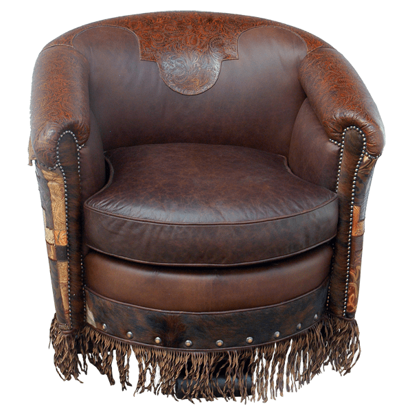 Western Leather Upholstered Swivel Chairs chr45