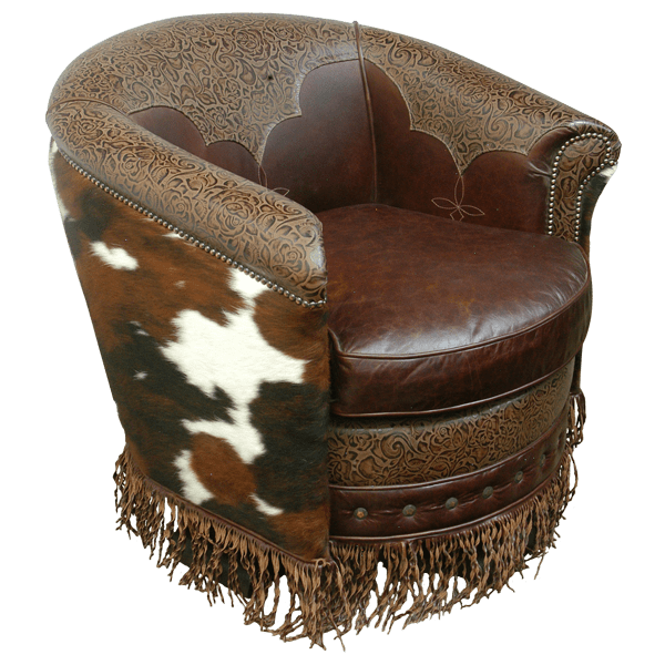 Western Embroidery Leather Upholstered Swivel Chairs chr46