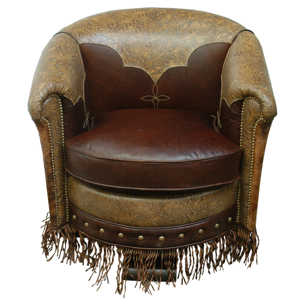 Western Leather Hand Carved Upholstered Swivel Chairs chr46a