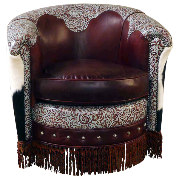 Western Leather Hand Carved Upholstered Swivel Chairs chr47b