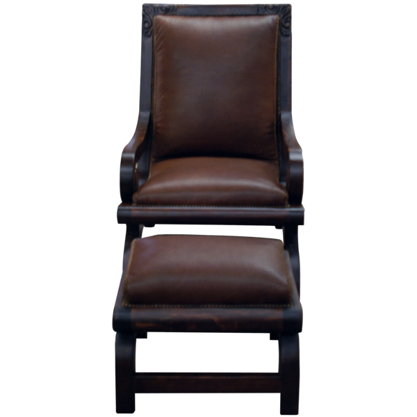 Western Leather Hand Carved Upholstered Chairs chr51e